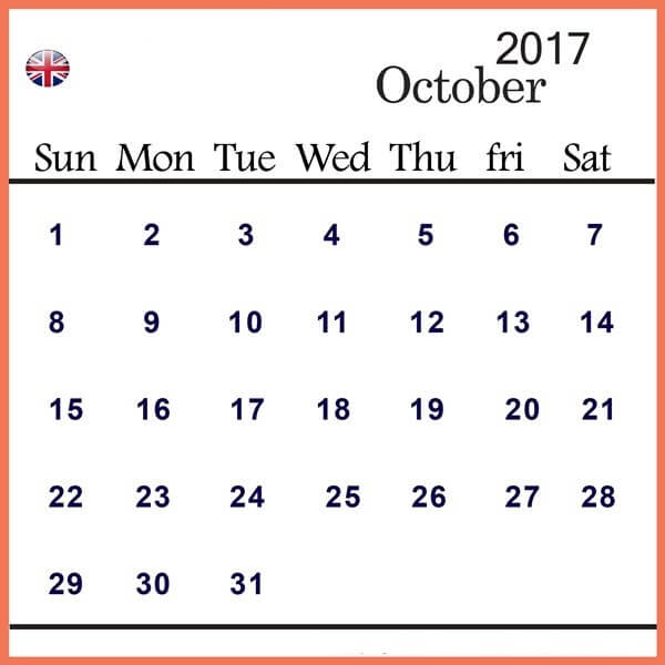 October 2017 Calendar UK Template