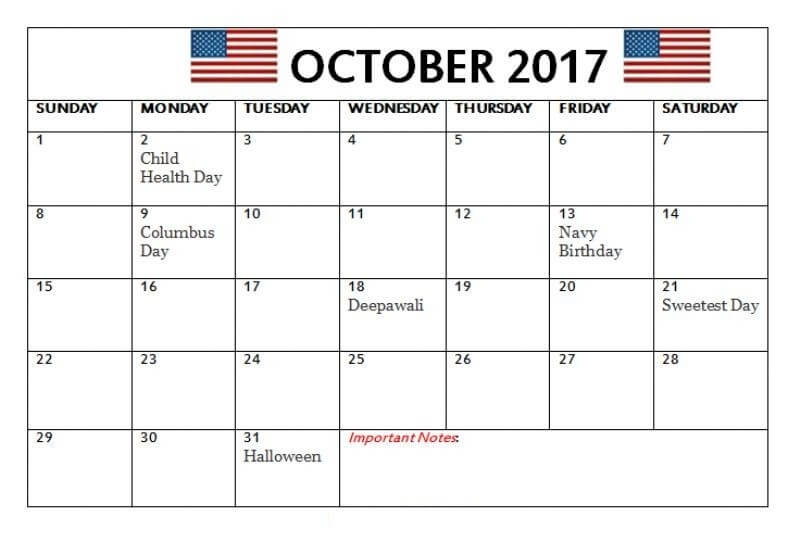 October 2017 Calendar UK United Kingdom