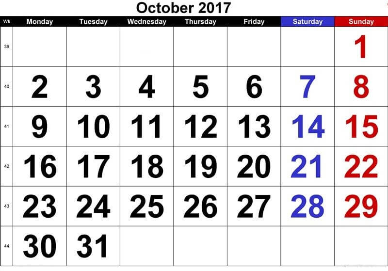 October 2017 Calendar UK