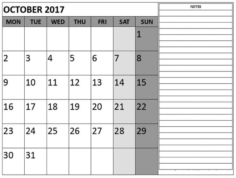 October 2017 Calendar With Notes Template