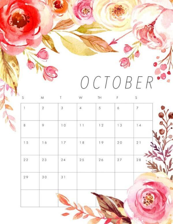 October 2017 Cute Calendar