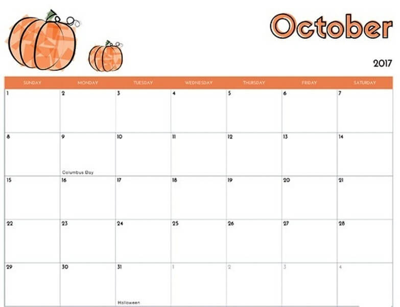 October 2017 Printable Calendar Cute