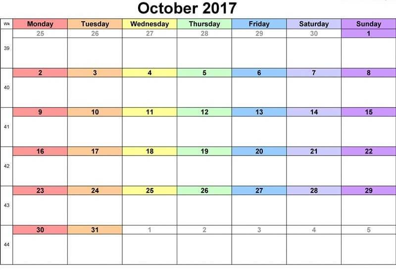 October Calendar 2017 UK