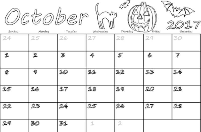 Print October 2017 Calendar Cute