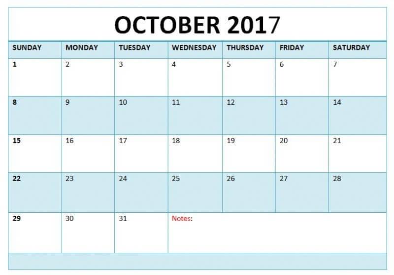 Print October 2017 Calendar Template