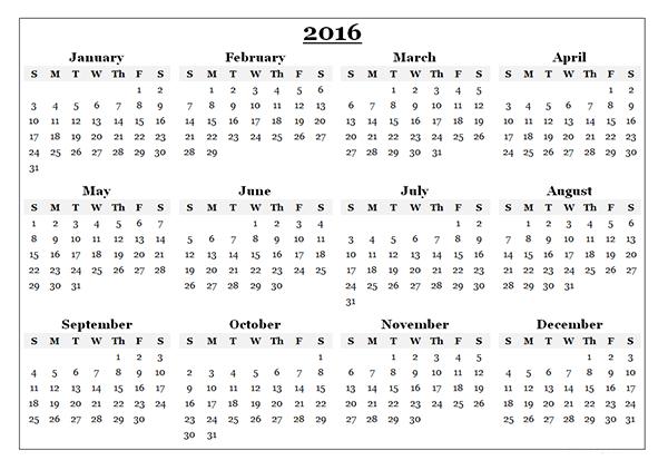 Printable Calendar Template 2016