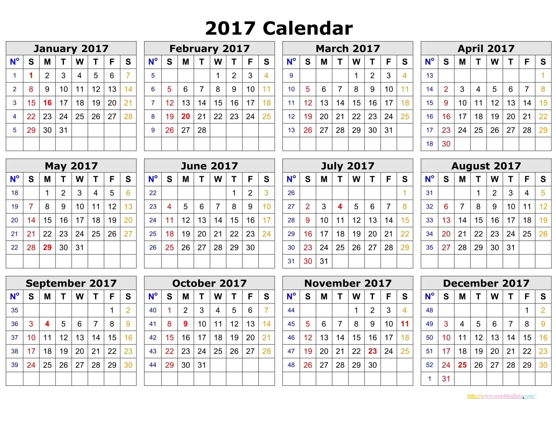 Free Editable Calendar, Printable Calendar Template 2016, 2017
