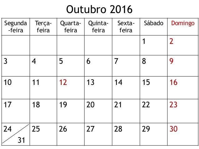 calendario outubro 2016