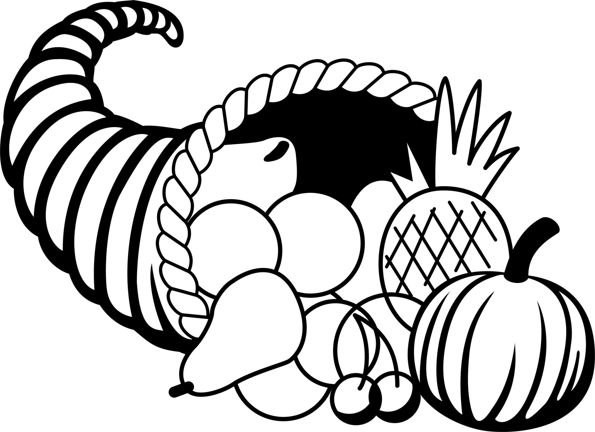 Animated Thanksgiving Black and White clipart
