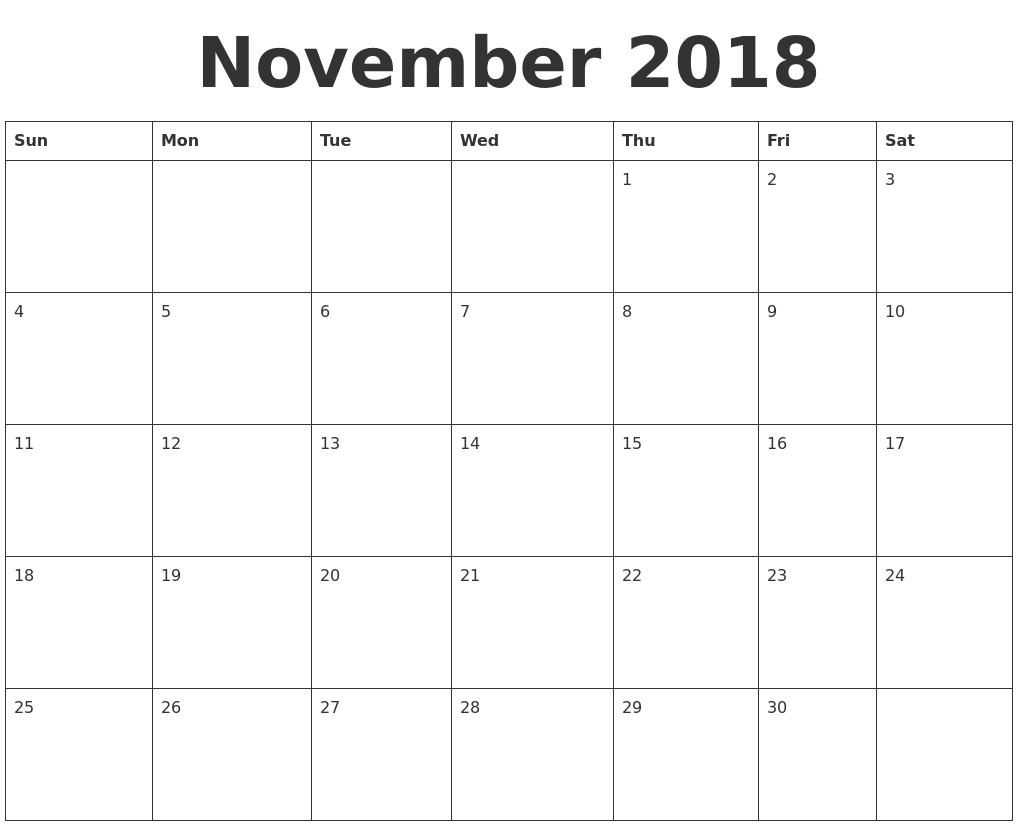 Blank Calendar November 2018 Monthly