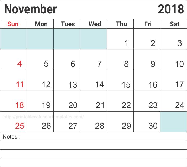 Blank Calendar November 2018 With Notes
