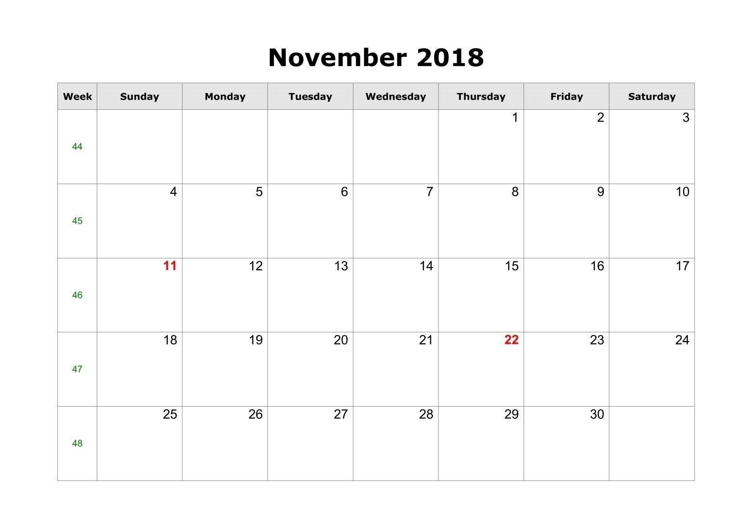 Blank Calendar November 2018