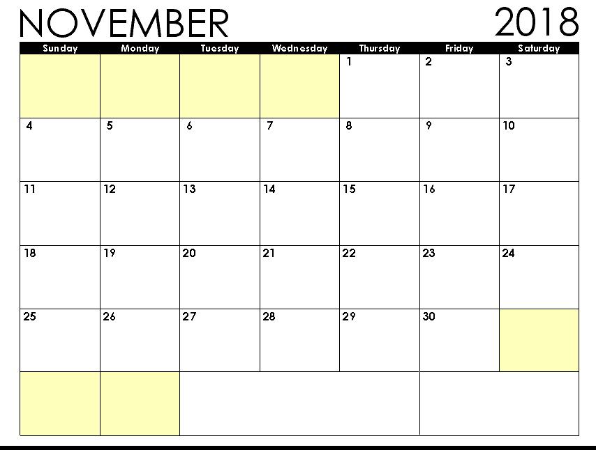 Blank November 2018 Calendar PDF