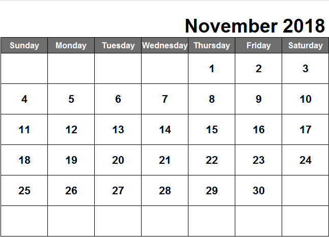Blank November 2018 Printable Calendar