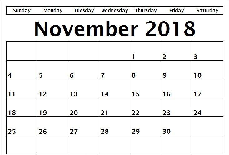 Blank November Calendar 2018