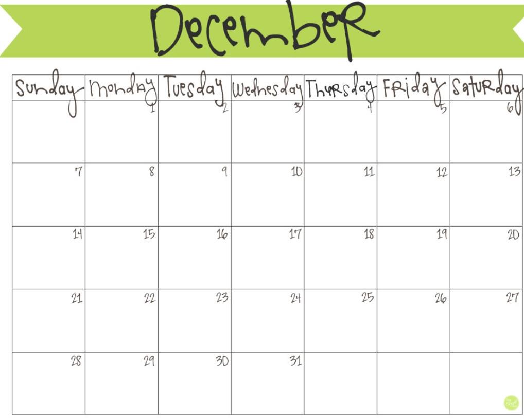 December 2016 Free Printable Calendar