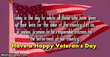 Happy Veterans Day Messages
