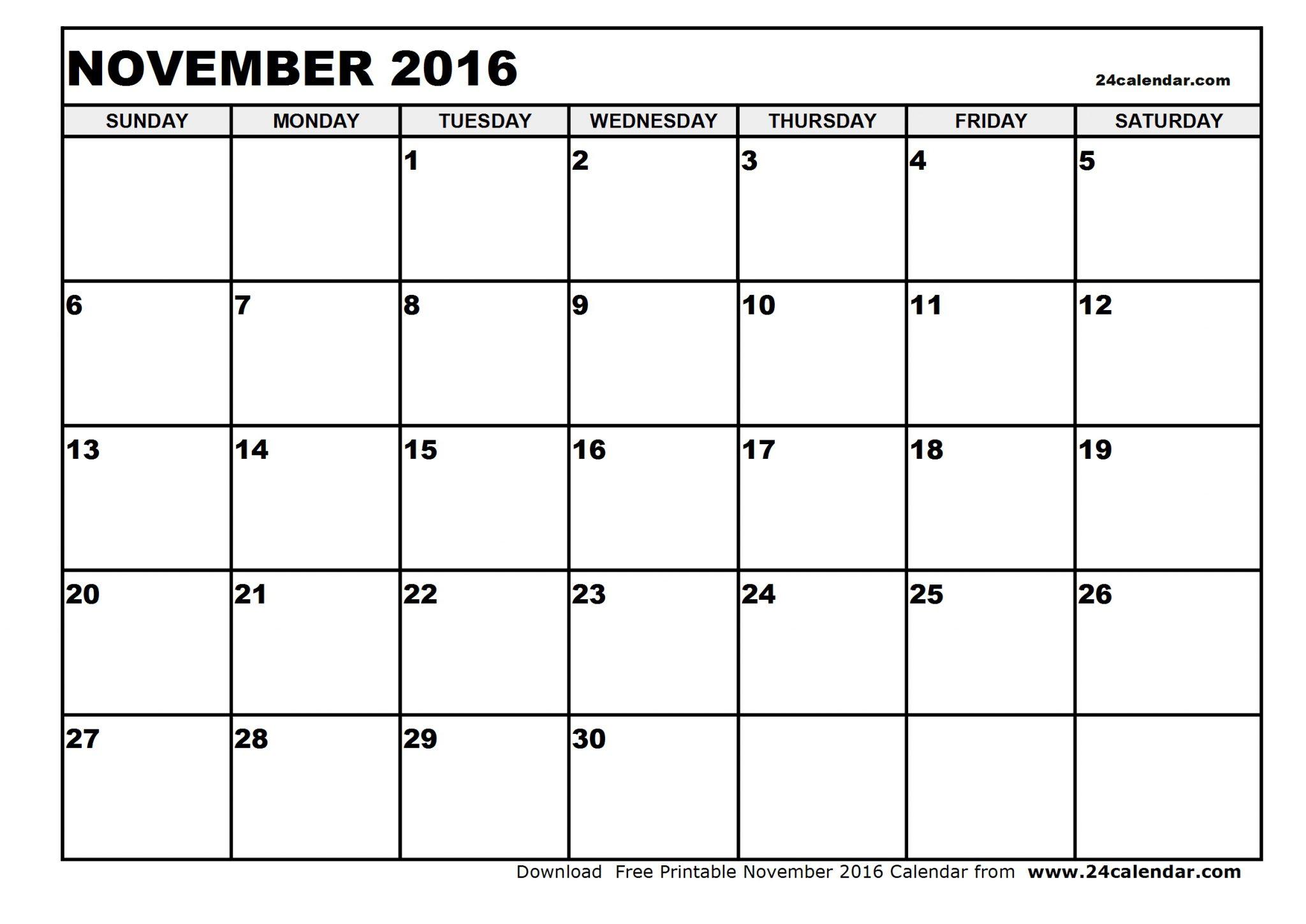 November 2016 Calendar PDF