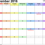 November 2016 Calendar with Holidays USA Singapore UK Canada Philippines South Africa NZ India Malaysia