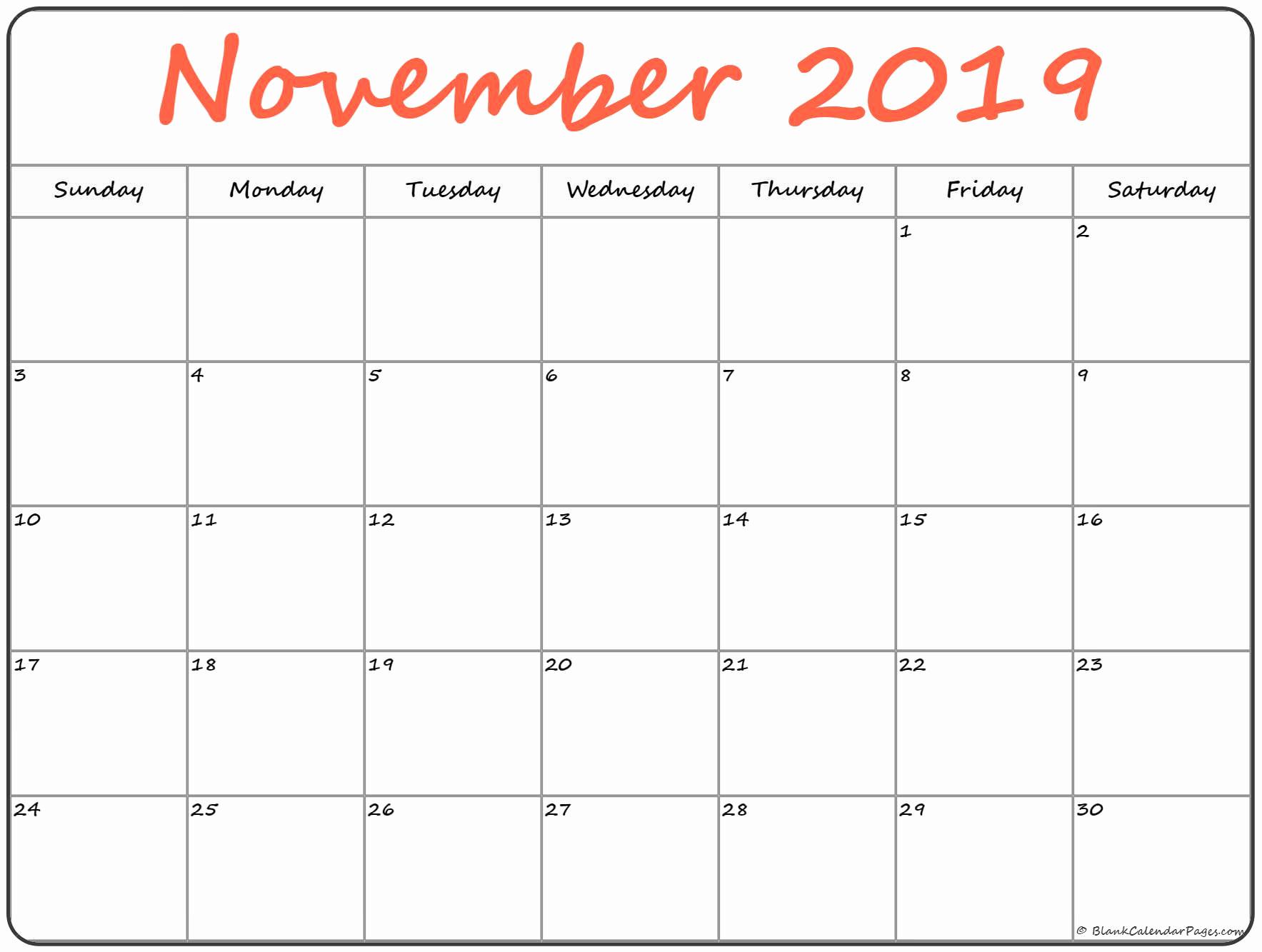 november 2019 blank calendar printable