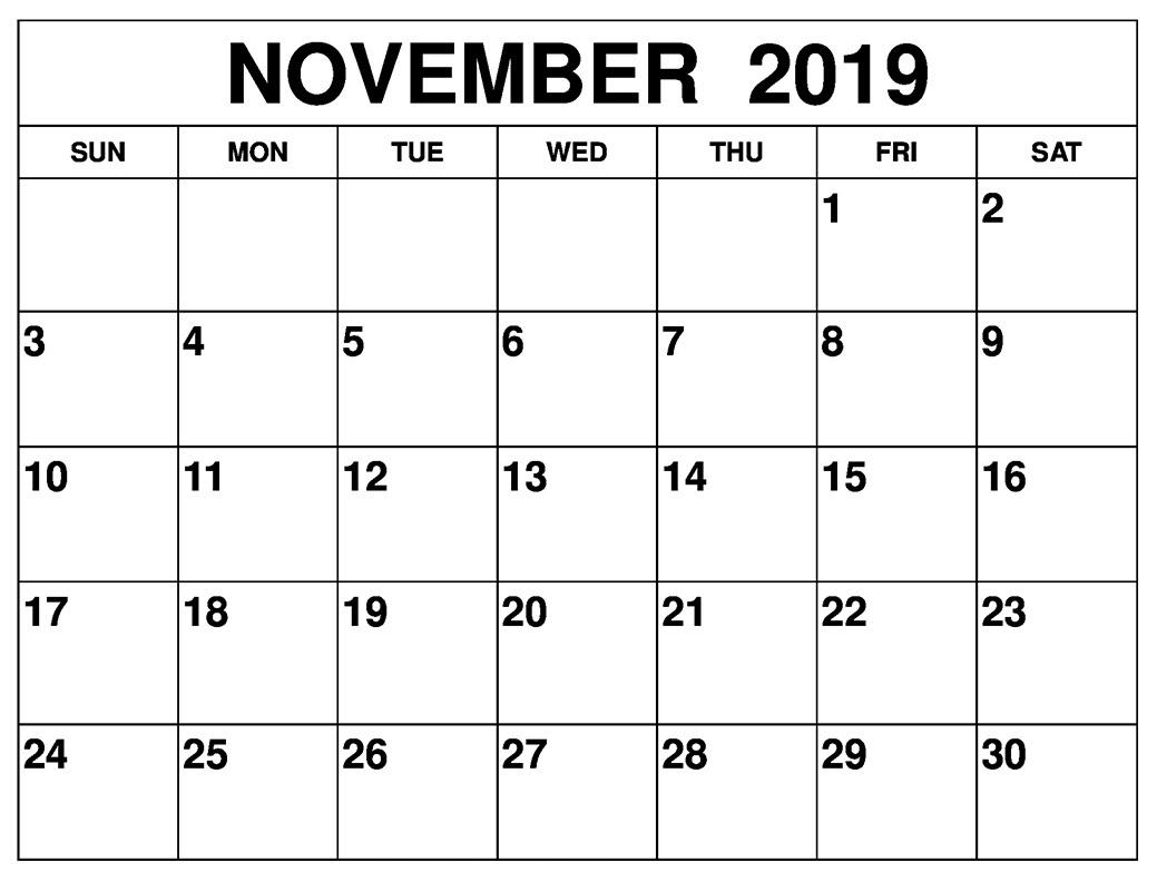 November 2019 Calendar Large Print