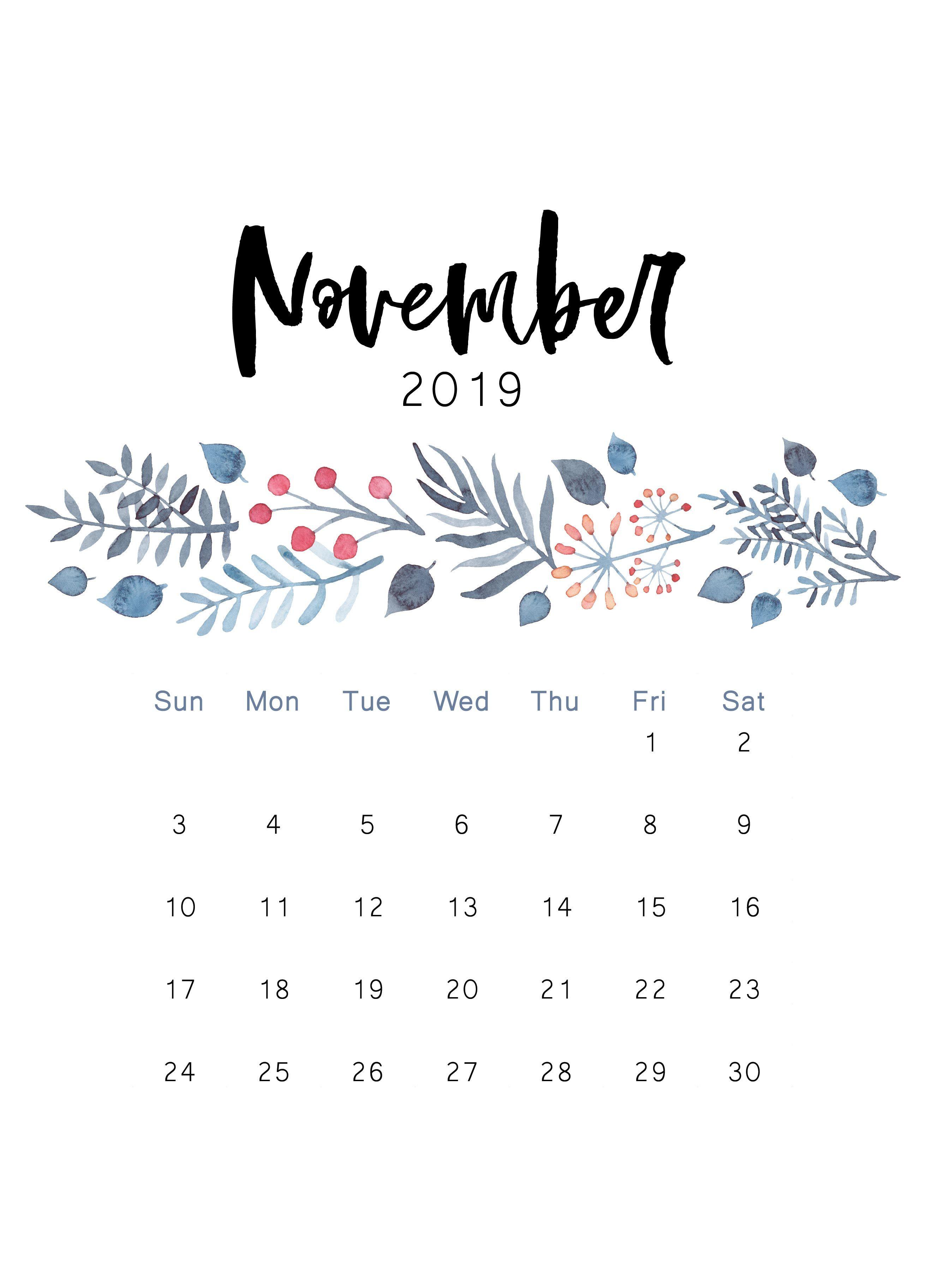 November 2019 Calendar Printable Portrait
