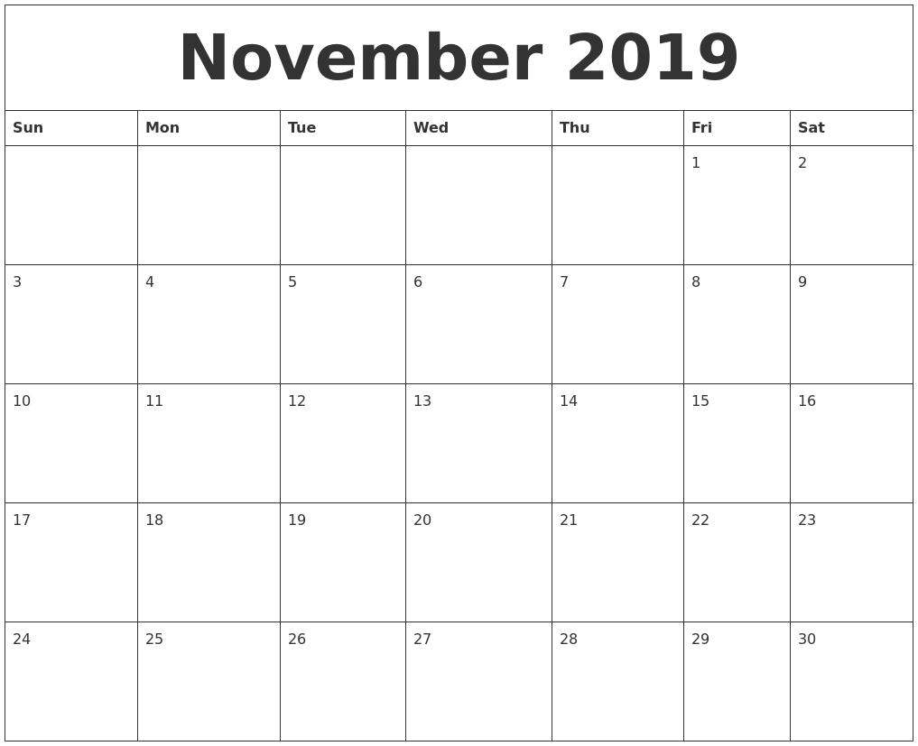 November 2019 Cute Printable Calendar