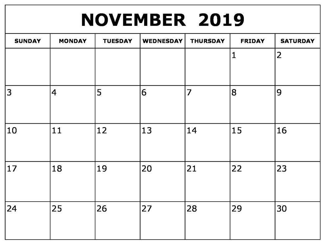 graphic about Nov Calendar Printable Pdf named Absolutely free November 2019 Printable Calendar Term Excel Pdf Report