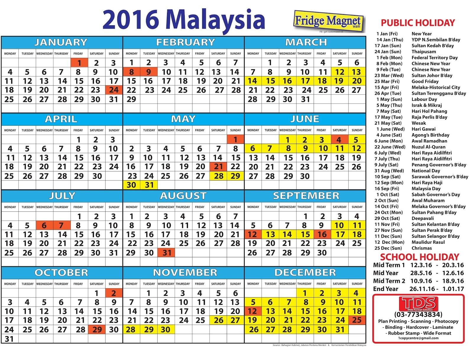 november 2016 holidays malaysia