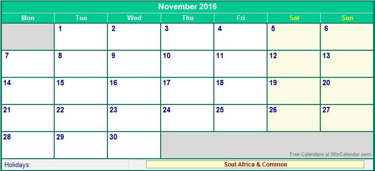november 2016 holidays south africa