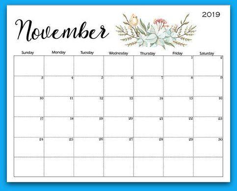 november 2019 floral printable calendar