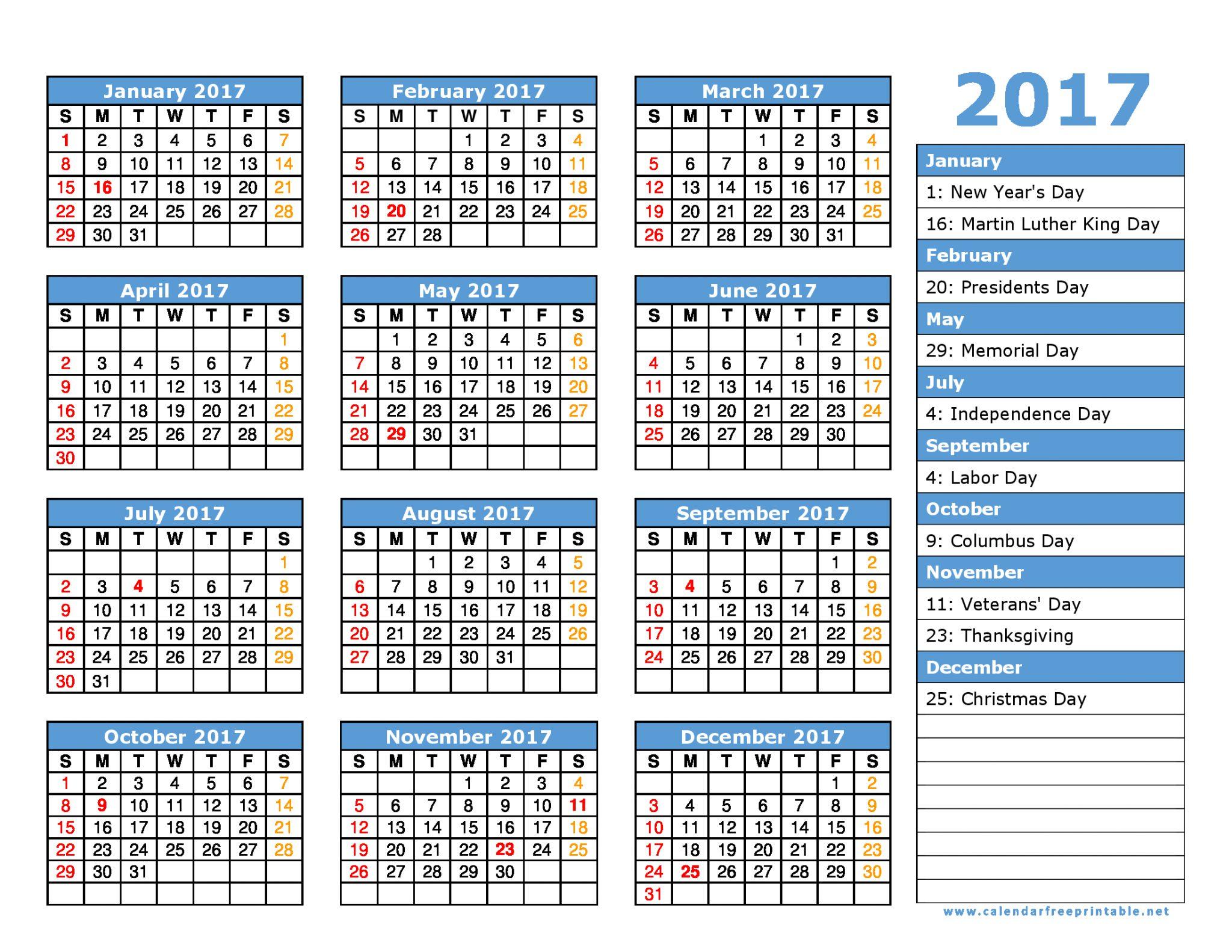 2017 Calendar Holidays Printable