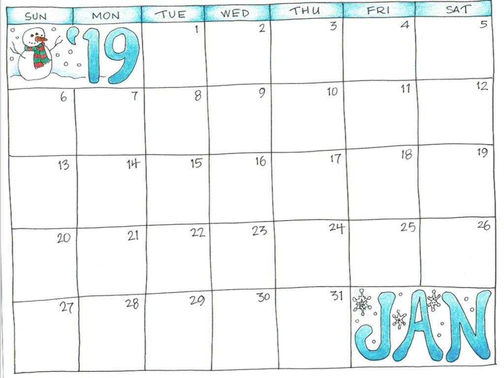 Printable 2019 January Calendar Blank Planner