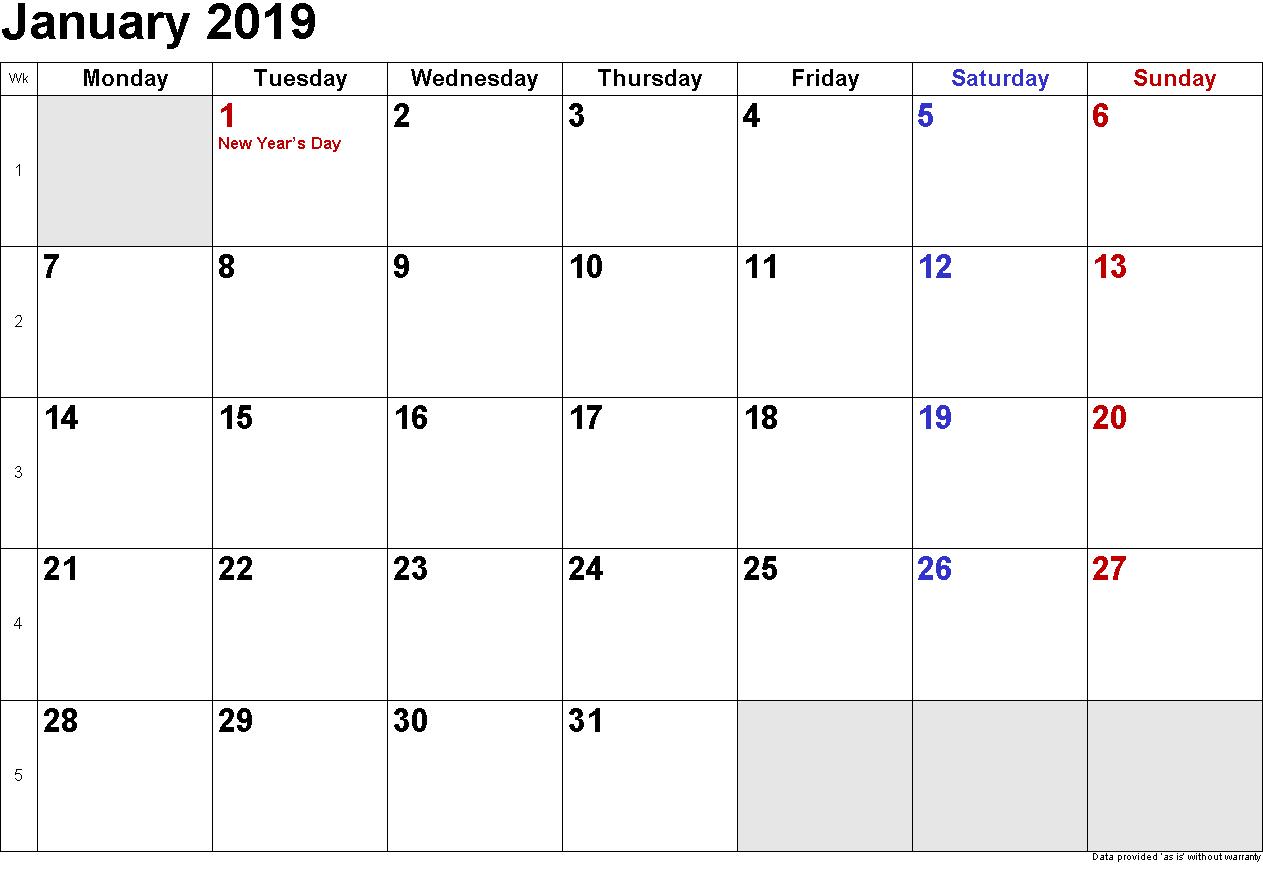 January 2019 Calendar Xls