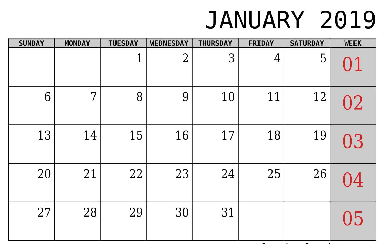 2019 January Calendar Template