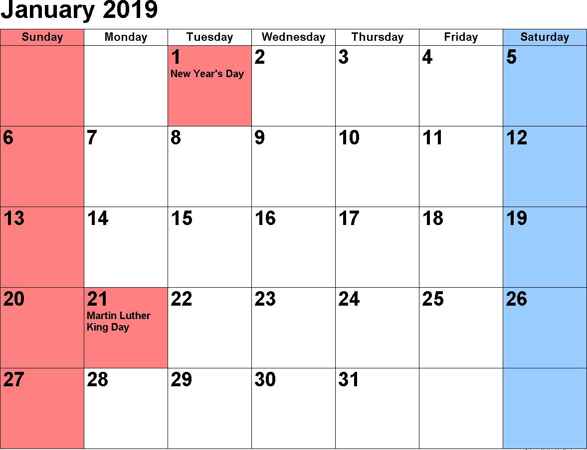 2019 January Calendar A4 Page