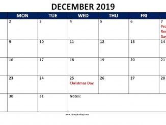 Calendar 2019 December Holidays