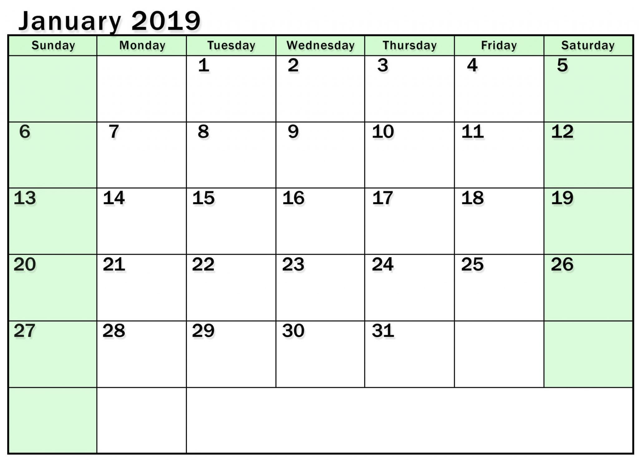 Monthly Calendar 2019 January free