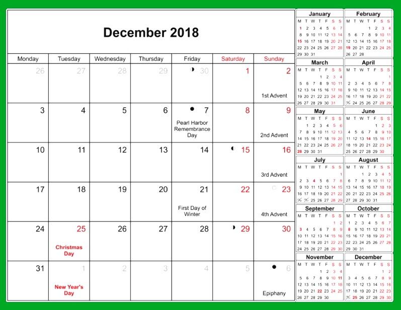 Calendar December 2018 Holidays