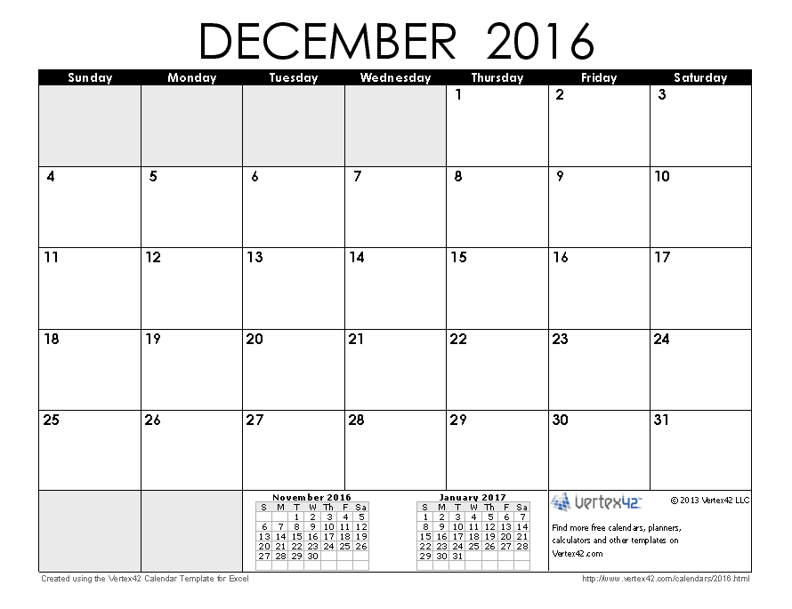 December 2016 Calendar with Holidays Canada