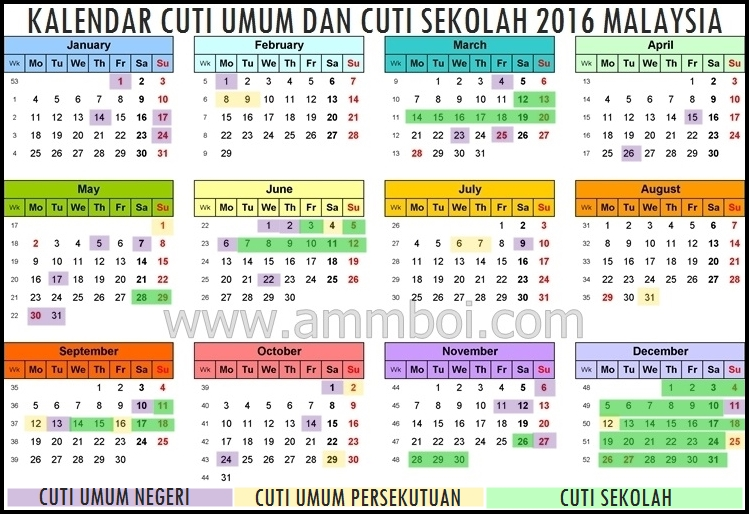 December 2016 Calendar with Holidays Malaysia