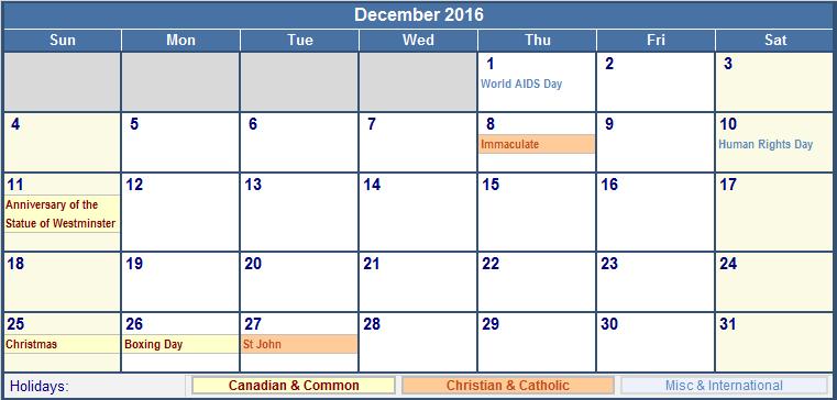 December 2016 Holidays Canada