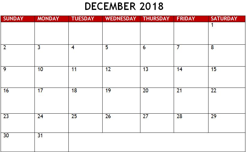 December 2018 Calendar For Desk