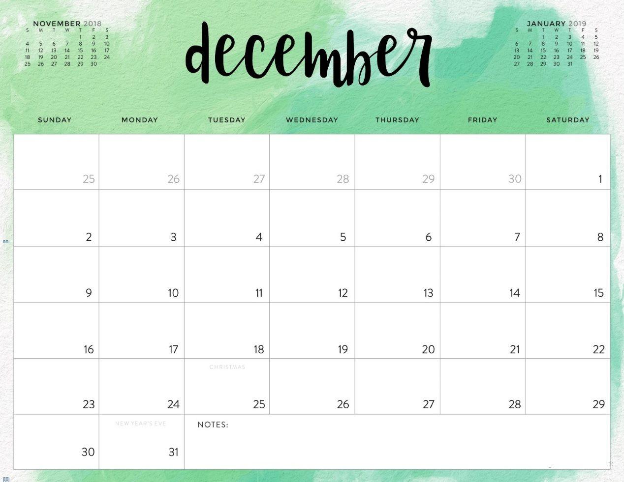 December 2018 Calendar PDF