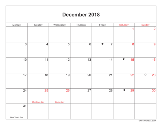 December 2018 Calendar Printable with Bank Holidays UK Landscape Small