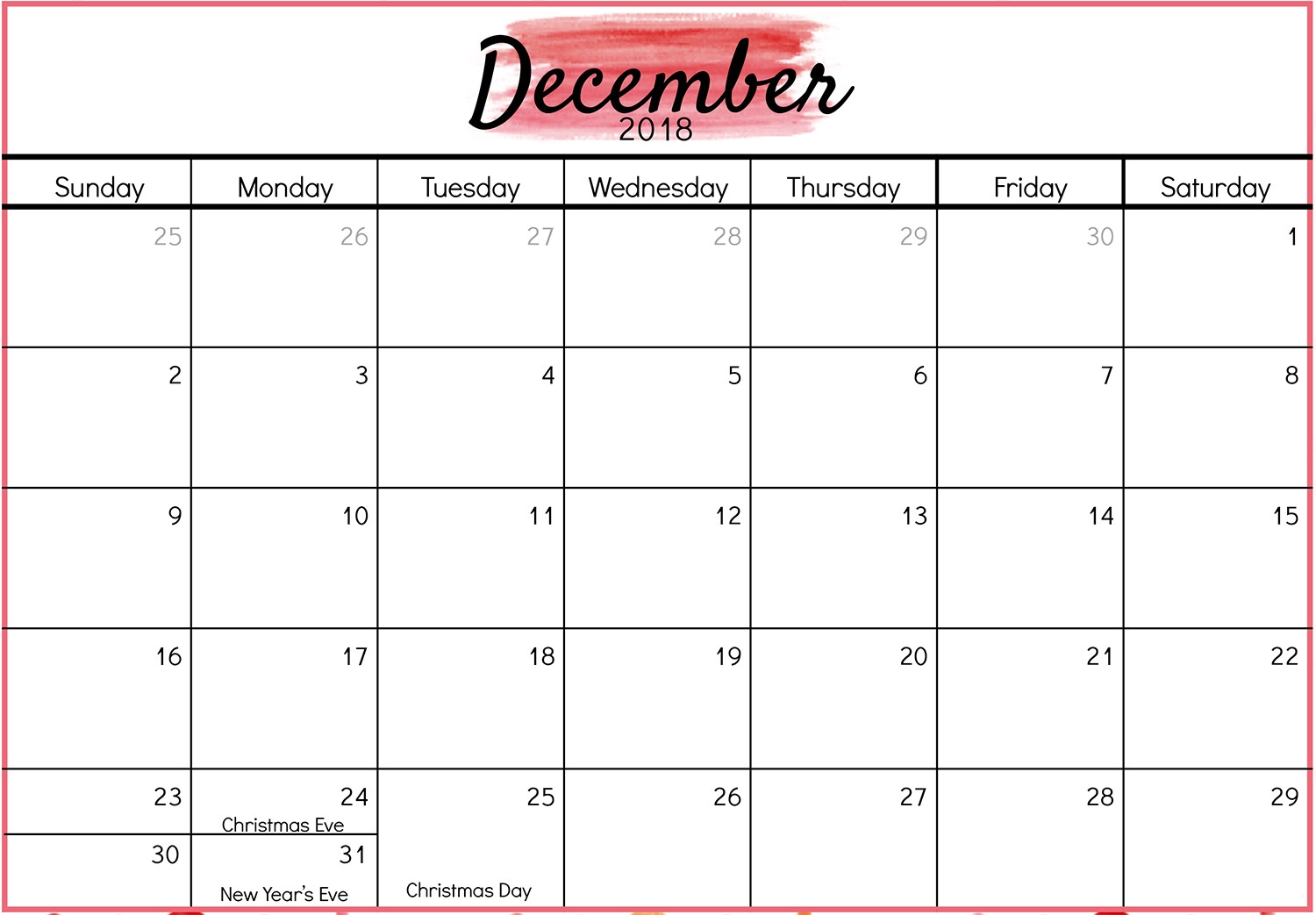 December 2018 Calendar Public and National Holidays