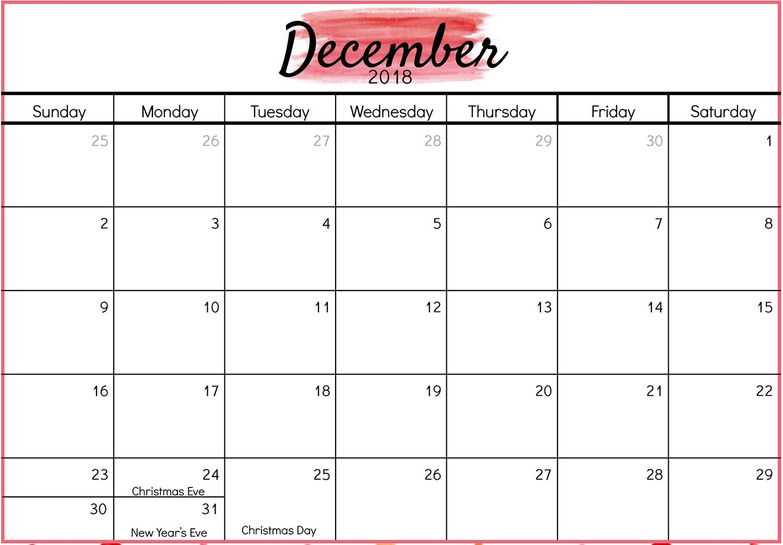 December 2018 Calendar Public and National Holidays