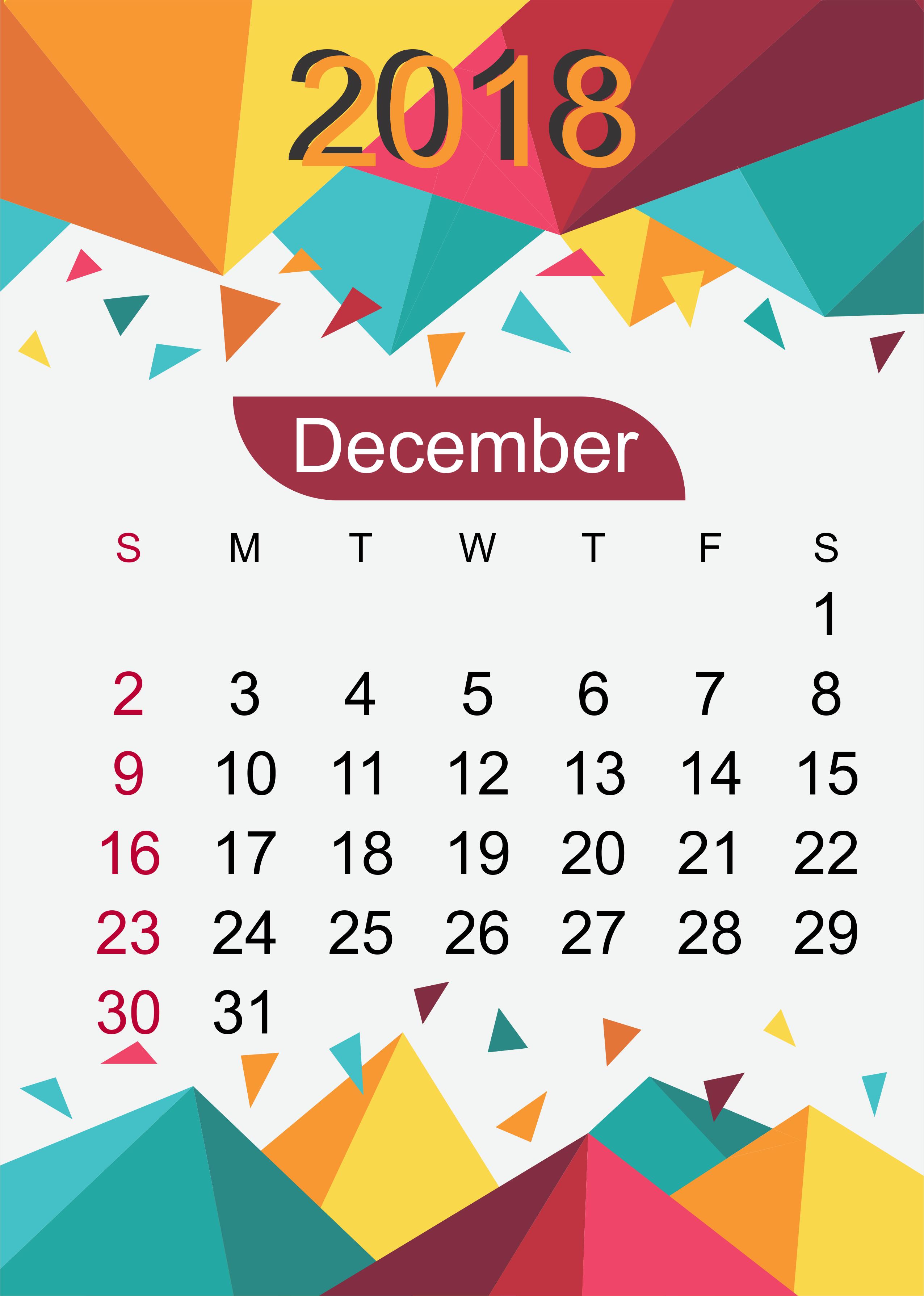 December 2018 Calendar Wallpaper