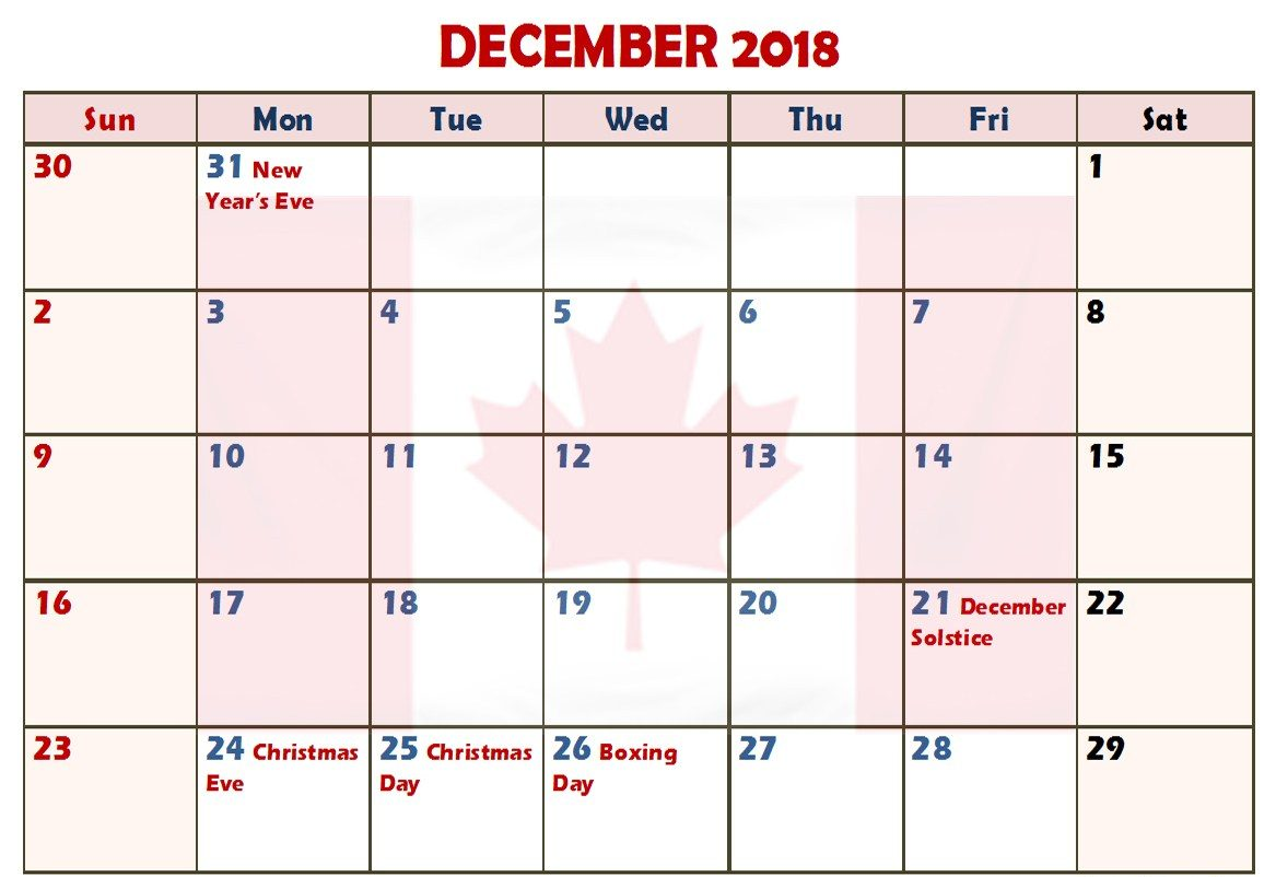 December 2018 Calendar With Holidays Canada