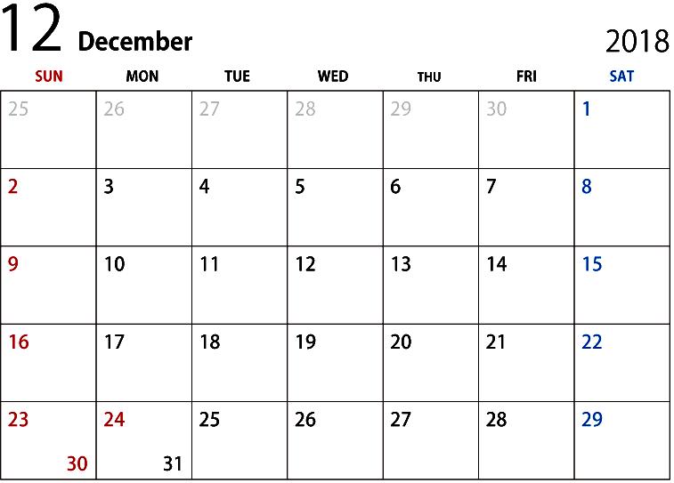 December 2018 Calendar With Holidays Printable Template
